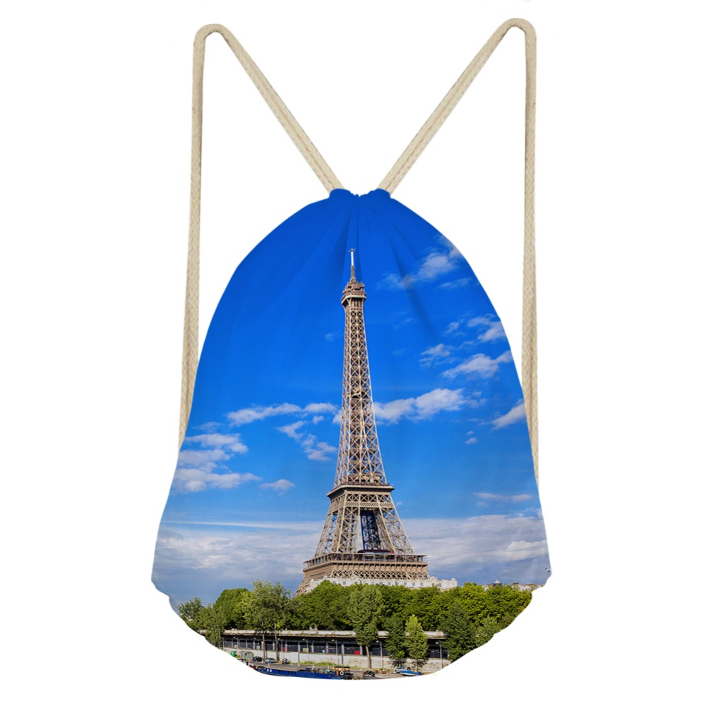 ThiKin Famous Scenery Eiffel Tower Printed Drawstring Bags for Women Children Backpacks Small Travel Bag Girls