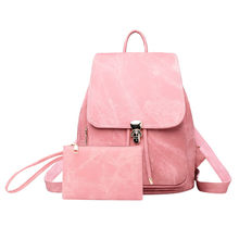 40# Women Backpacks Sets 2pcs Soft Leather Denim Retro Bag Backpack Female Bookbag Mochila Backbag Schoolbag Woman Rucksacks(China)