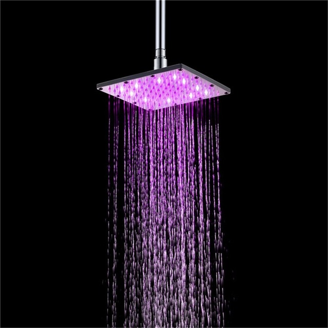 6 inch LED Square Fixed Showerhead Shower Head Rainfall Top Spray 7 Colors Gradual Changing and 3 colors Temperature Sensor