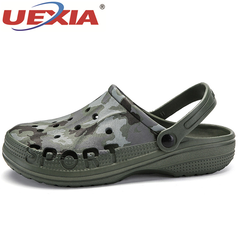 UEXIA New Men Sandals Summer Camouflage Men Beach Shoes Hollow Slippers Breathable Flip Flops Non slip Sandals Men Clogs Outside uexia new men sandals summer style men beach shoes hollow slippers hole breathable flip flops non slip sandals men clogs outside