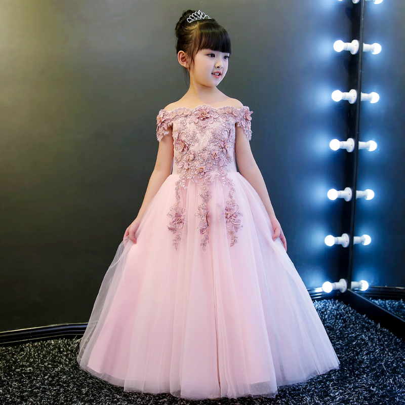 2018 winter kids girls embroidered flower formal party ball gown prom princess bridemaid wedding children pageant tutu dresses цены онлайн