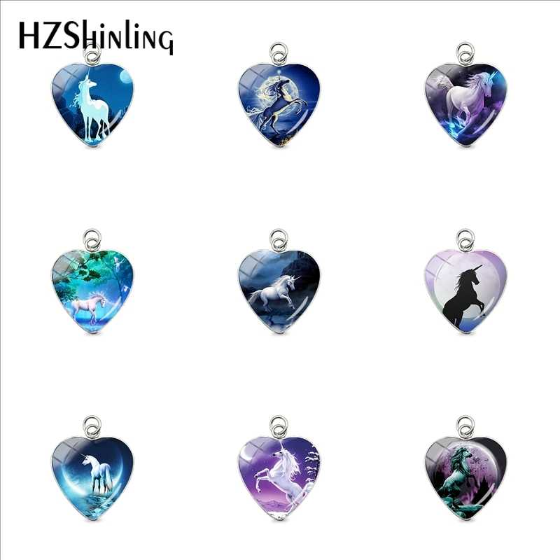 New Handmade Moonlight Unicorn Pendants Beauty Unicorn Pegasus Art Glass Dome Charms Jewelry Accessory