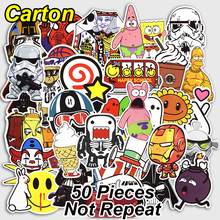 50 Pcs Cartoon Stickers Mixed Funny Cute Cartoon Style Waterproof Snowboard Luggage Laptop Motorcycle Television Doodle