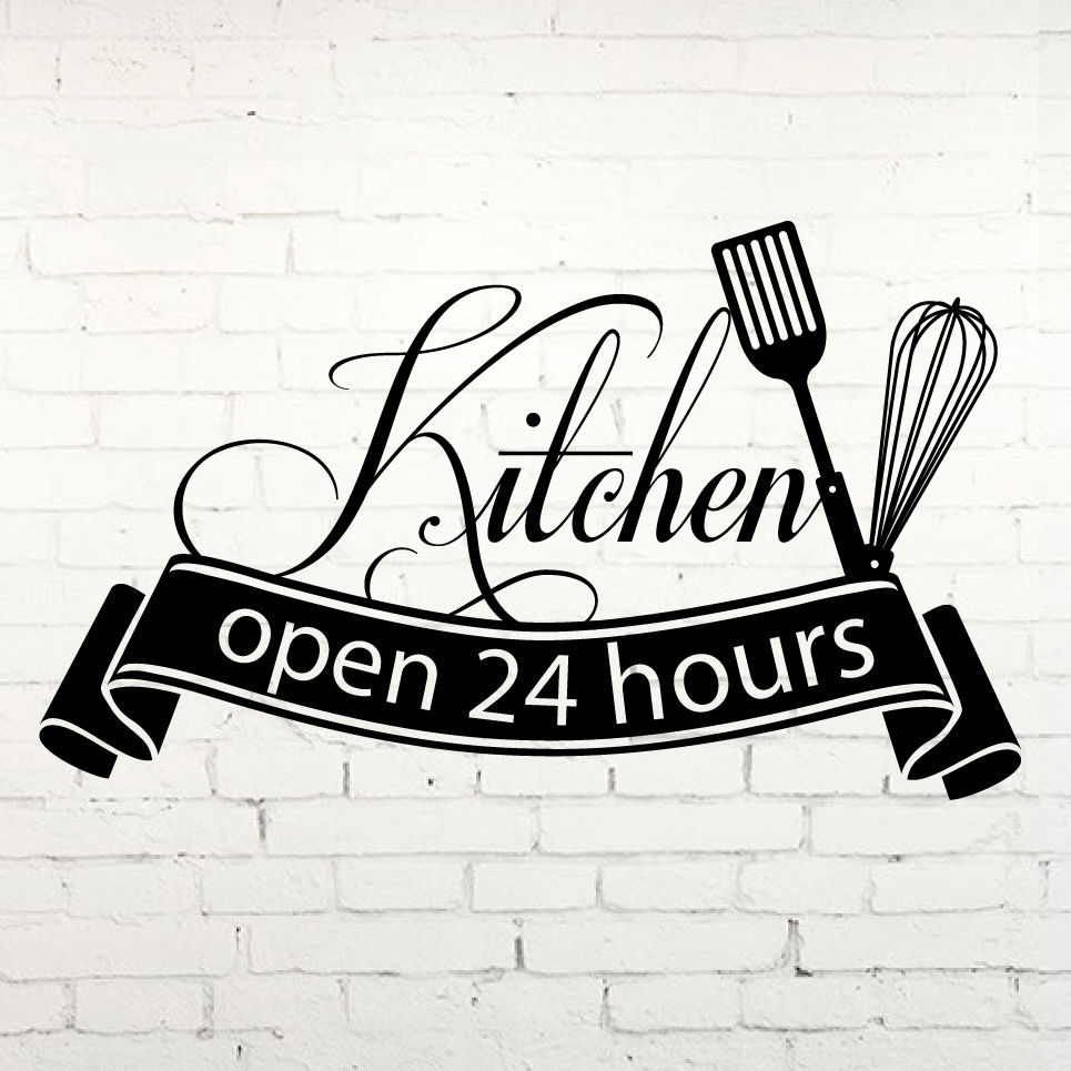 Ins Hot Sale Cuisine Wall Sticker Open 24 Hours Kitchen Cut Vinyl Decal Home Decor kitch ...