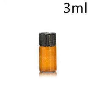 Image 5 - 1 مللي 2 مللي 3 مللي 5 مللي صغيرة العنبر الزجاج زجاجة زيت طبيعي مع غطاء أسود براون الزجاج زجاجة عينة اختبار إعادة الملء زجاجات 100 قطعة