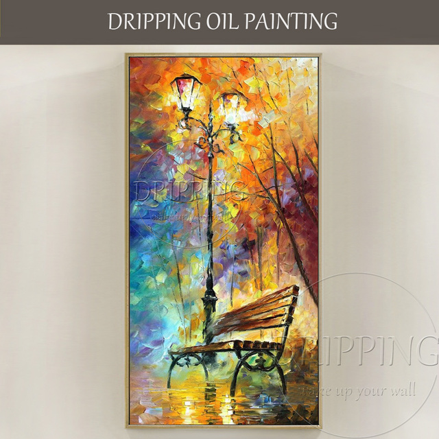 Hand painted colorful wall art picture park bench oil painting for living room abstract palette