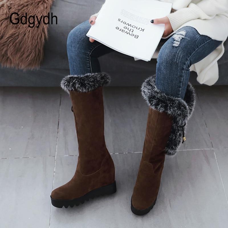 Taille D'hiver Talon Femme Russe De 2018 Chaussures Noirs Coins Bottes Shoes New Shoes 43 Femelle brown Grand Neige Hiver Femmes Black Gdgydh Plate Fourrure Réel forme xRCwqn78Y
