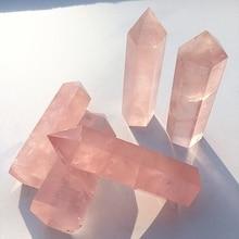 1 шт. натуральный камень розовый кварц кристалл палочка целебный минеральный камень коллекция DIY домашний декор шестиугольные обработки камни