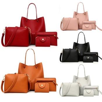 bolso mujer 4Pcs Women Pattern Leather Handbag+Crossbody Bag+Messenger Bag+Card Package сумка женская через плечо