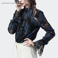 Ladies Blouses Lace Ruffles Tops Stand Collar Flare Long Sleeve Hollow Out Floral Plus Size Elegant Spring Summer Women Clothing