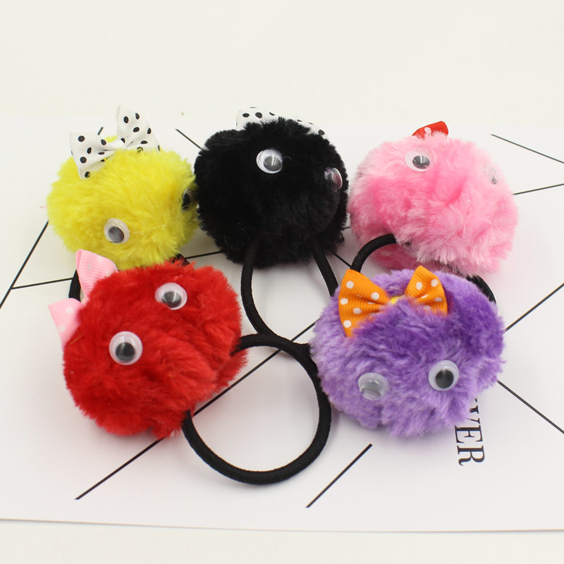 Cartoon Artificial Rabbit Fur Ball Elastic Hair Rope Rings Ties Bands Ponytail Holders Girls Hairband Headband Hair Accessories lnrrabc 12pcs pack elastic hair bands headband stretchy hair rope rubber bands hair accessories for accessoire cheveux