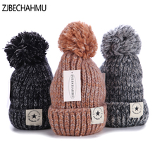 Casual New Solid Wool Warm Pompoms Skullies Beanies Hats For Women Girl Winter Cotton Elegant Outdoor