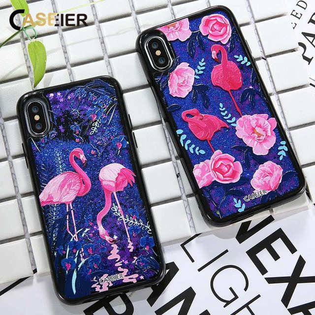 CASEIER Luxury Phone Case For iPhone 6 6s 7 8 Plus Liquid Glitter Sand Cases For iPhone 7 8 Plus X Quicksand Capinha Funda Cover