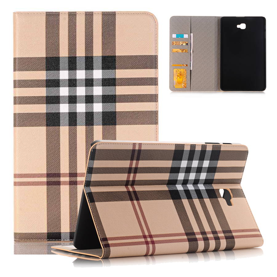 Elegant Plaid Folio Flip Wallet Stand Cover Case for Samsung Galaxy Tab A 10.1 Tablet T580  SM-T585 Shell Skin Coque Capa 360 degree rotating flip folio swivel stand smart case cover for samsung galaxy tab a 9 7 inch sm t550 tablet screen protector
