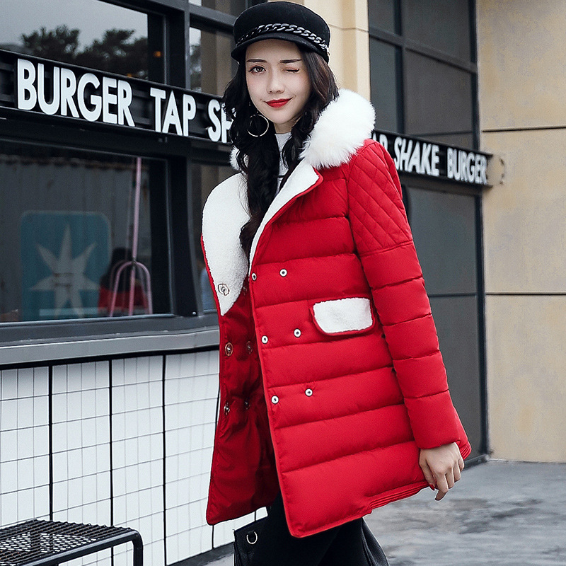 2017 New Winter Coat Women Outwear Fashion Double Breasted Jacket Cotton Padded Thick Warm Parkas Female Overcoat M-XXXL