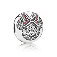 Top Quality 925 Sterling Silver Bead Charm Mickey&minnie Pave Crystal Clip Lock Stopper Beads Fit Pandora Bracelet Diy Jewelry
