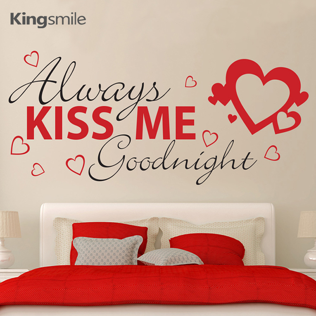 moderne kus me altijd goodnight muursticker harten decals quotes slaapkamer muur art sticker liefde poster decoraties