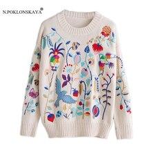Женские вязаные свитера высокого качества с длинными рукавами, пуловеры, свитер с вышивкой, Женский пуловер, модный осенний трикотаж года