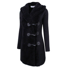 2016 Winter Thick Woolen Horn Button Hooded Jacket Women Coat  Casual Long Sleeve Womens Winter Jackets And Coats Thick Overcoat