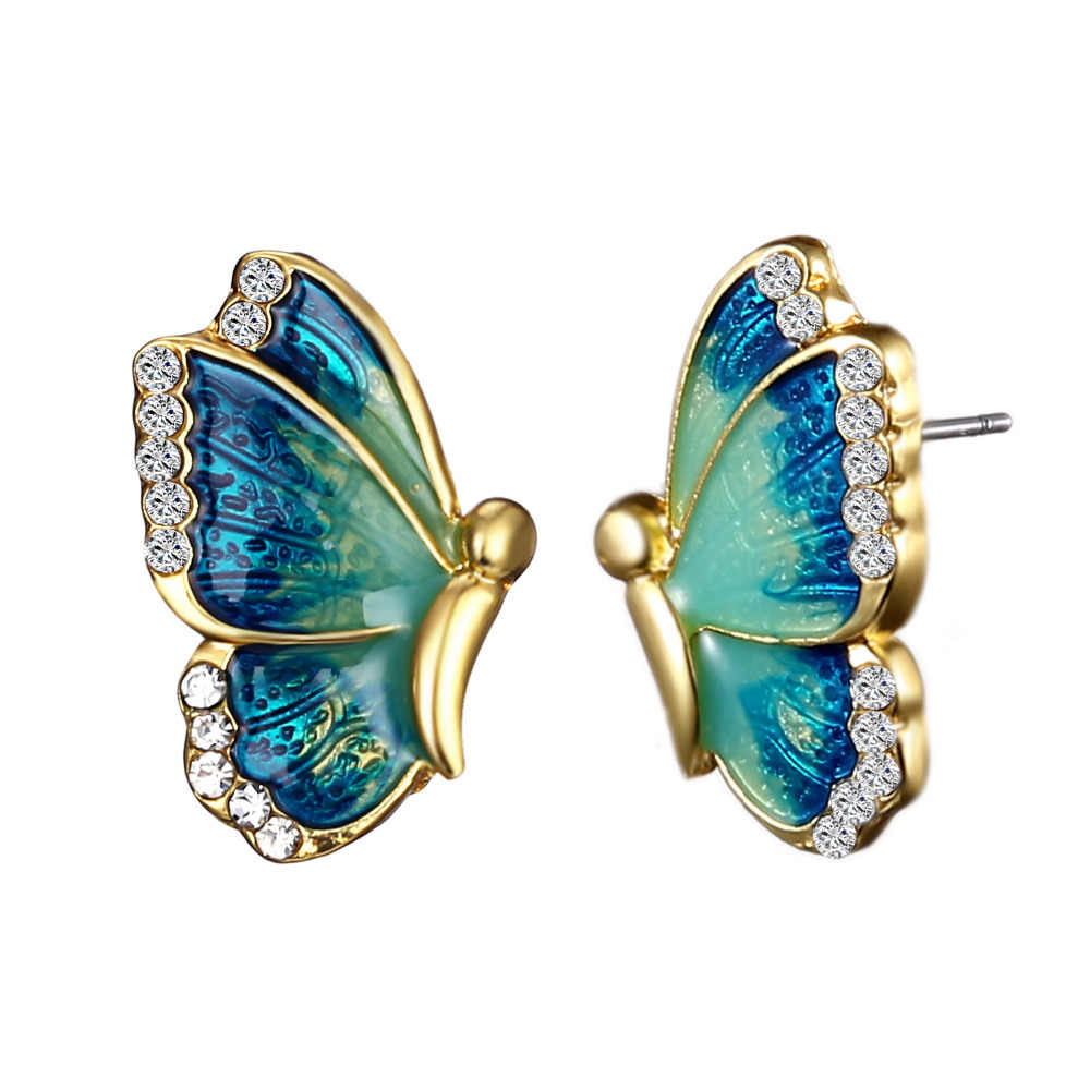 Oil Painted Butterfly Stud Earrings Rhinestone Wild Animal Female Women Birthday Party Jewelry Girls Best Gift  3 Colors