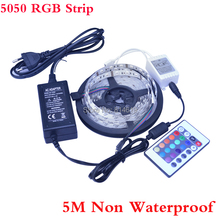RGB Led Strip Non-Waterproof 5M SMD 5050 300 LEDs/Roll +24 keys IR Remote+12V 3A Power Adapter Free Shipping by china post air