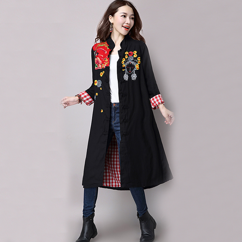 Mferlier Vintage   Trench   Coat for Women Cotton Linen Long   Trench   Coat Retro Embroidery Patchwork Winter Women   Trench   Coat