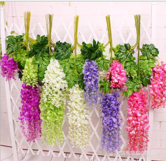 Aliexpress buy hot 24pclot 110cm silk wisteria garland hot 24pclot 110cm silk wisteria garland artificial wisteria flower garlands perfect for wedding decoration mightylinksfo Choice Image