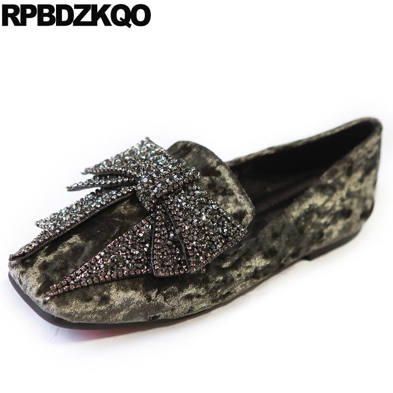 Green Rhinestone China Square Toe Velvet Crystal Flats Big Bow Loafers Retro Women Dress Shoes Fashion Beautiful European Latest