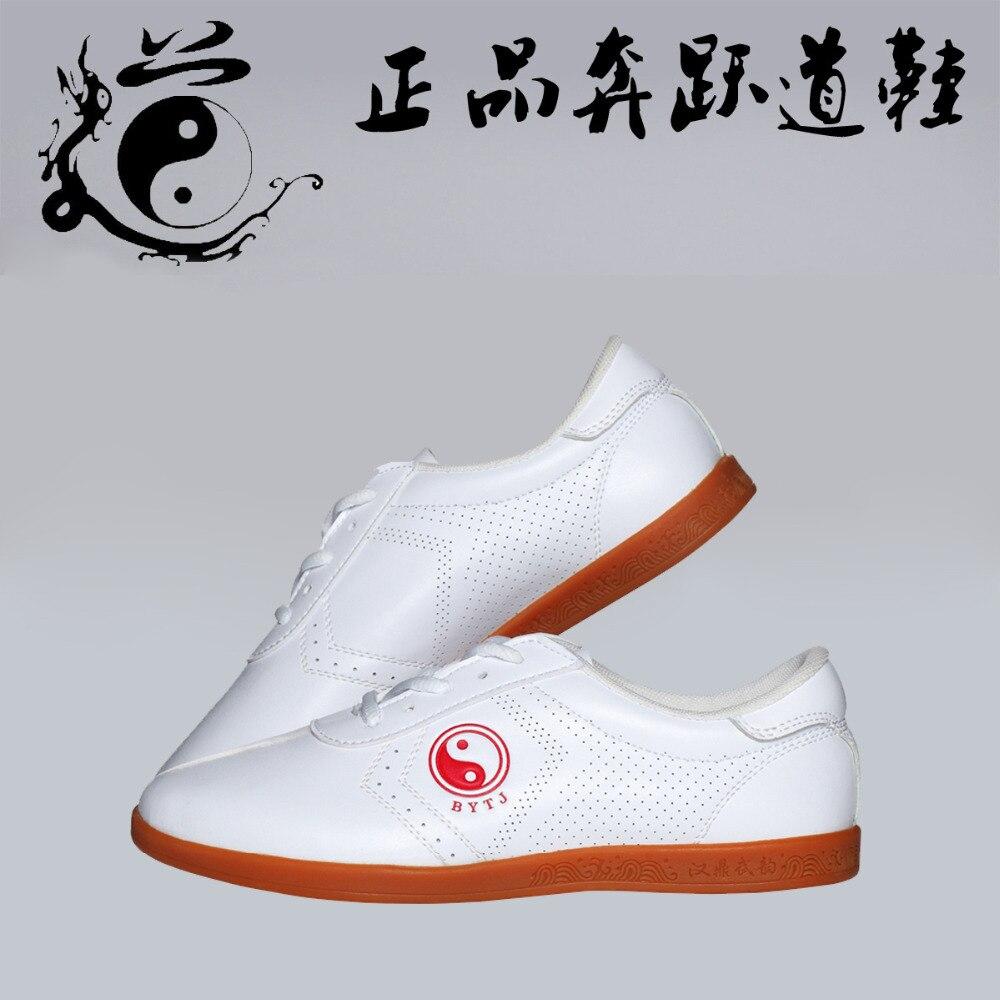 Adult Male Female Taichi Shoes Wushu Kungfu Shoes Winchun Taichi Taiji Uniform Unisex Classical White PU Leather Shoes Sneaker