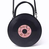 Japanese Harajuku bag round disc album lolita soft sister bag PU handbag women's shoulder Messenger bag lolita retro street shoo