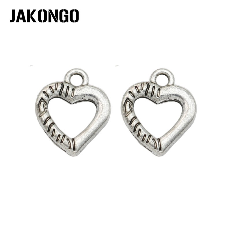 JAKONGO Antique Silver Plated Heart Charms Pendant for