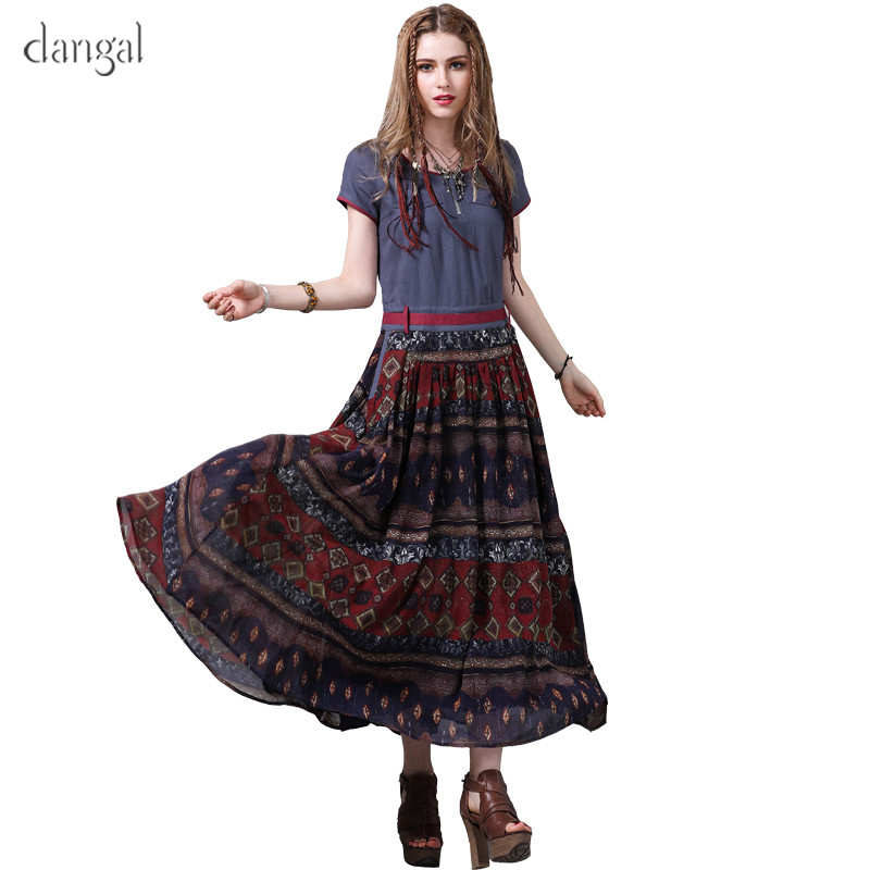 Dangal Summer Women Dress Indie Folk New A-Line Dresses O-Neck Printed Short Sleeve Ankle-Length Belted Cotton Long Vestidos2018