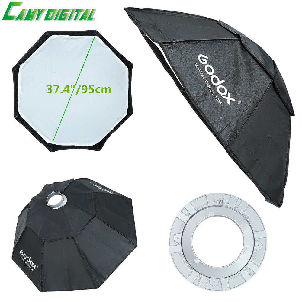 Godox Studio Flash Accessories Octagon Softbox 37.4/95cm Bowens Mount for Studio Strobe Flash Light godox studio flash accessories octagon softbox 37 95cm bowens mount with the gird for studio strobe flash light