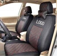 Tampa de assento da frente 2 para para mercedes benz w203 w204 w211 ML algodão de seda mista cinza preto vermelho bordado logotipo do carro assento cobre