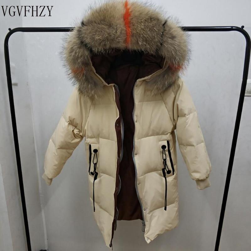 Natural Raccoon Fur Collar 2018 Winter Jacket Women 90% White Duck   Down     Coats   Long Thick Parkas Womens Winter Jackets And   Coats