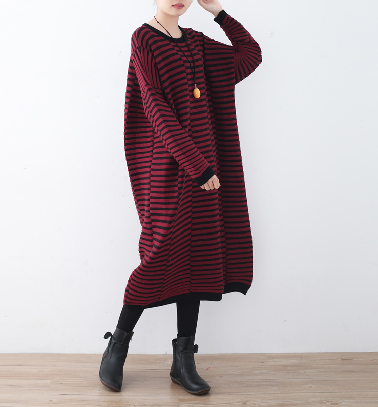 Women Autumn and Winter Dress New 2017 Women's Wool Knitted Large Size Long-sleeve Stripe One-piece Warm Cashmere Sweater Dress rqueena new arrival double v neck bodycon pencil dress 2017 fashion autumn winter women casual long knitted sweater dress women