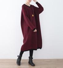 Для женщин осень-зима платье Новый 2017 Для женщин шерстяной вязаный большой Размеры с длинными рукавами в полоску цельный теплый кашемир Платья-свитеры