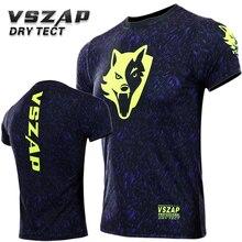 VSZAP компрессионные футболки быстросохнущие ММА Рашгард Короткие рукава облегающие мужские футболки джиу джитсу кикбоксинг