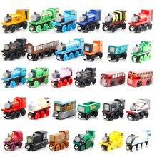 Thomase и друзья паровозы деревянные магнитные поезда игрушки для детей, с изображением мультяшных автомобилей, железнодорожный вагон аксессуары Классическая деревянная игрушка