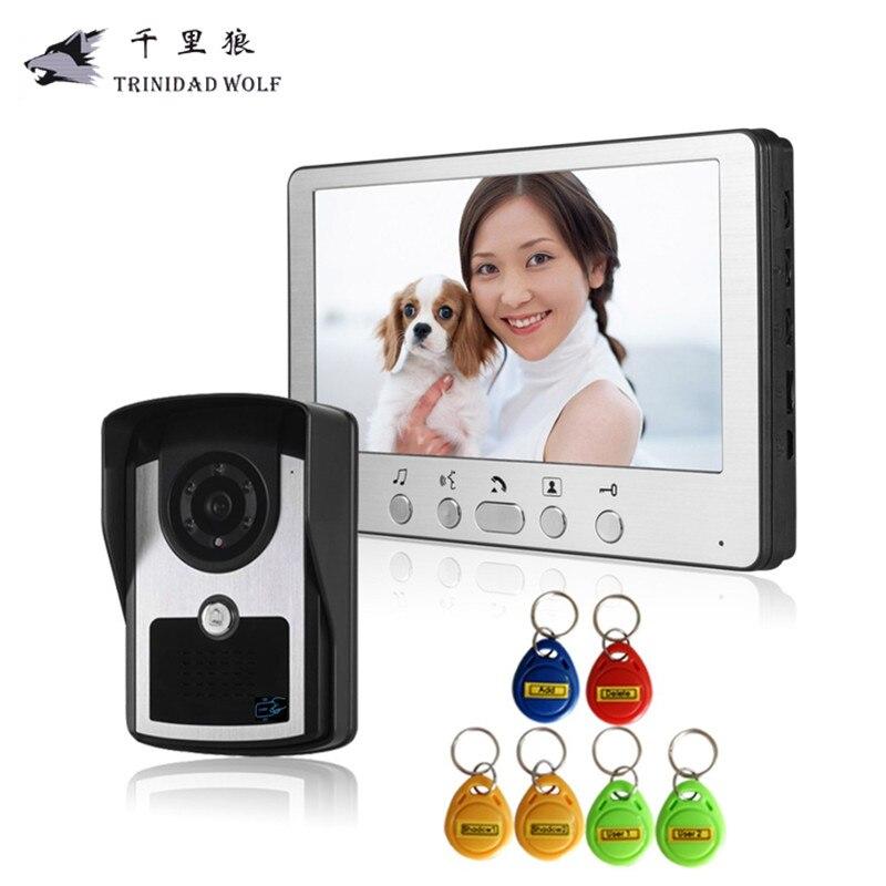 Тринидад волк 7 дюймов домофон станции с двери выпуска дверной звонок Камера дверь домофон Системы HD домофона ID карты