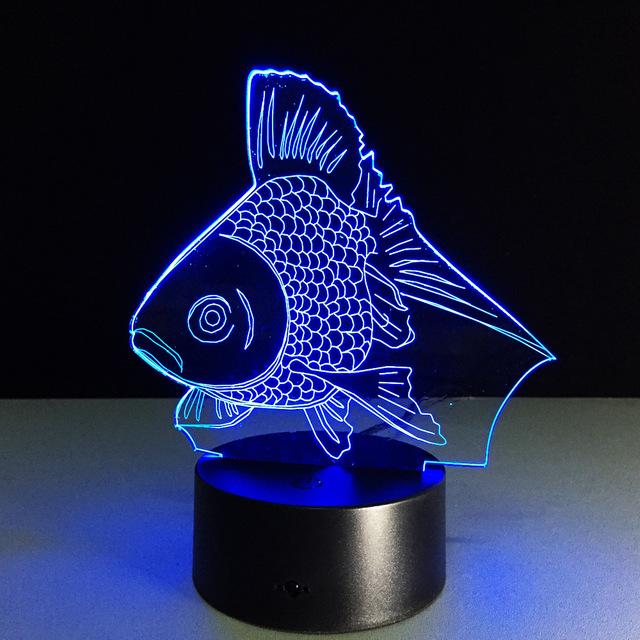 Acrílico em forma de peixe de boa qualidade 3D luz da noite Novidade luz