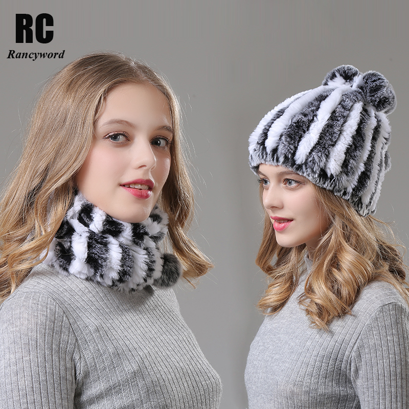 [Rancyword] Womens Winter Hats Scarf Knitted Real Rabbit Fur Hat Natural fur Neck Girls Warm Beanies RC1371