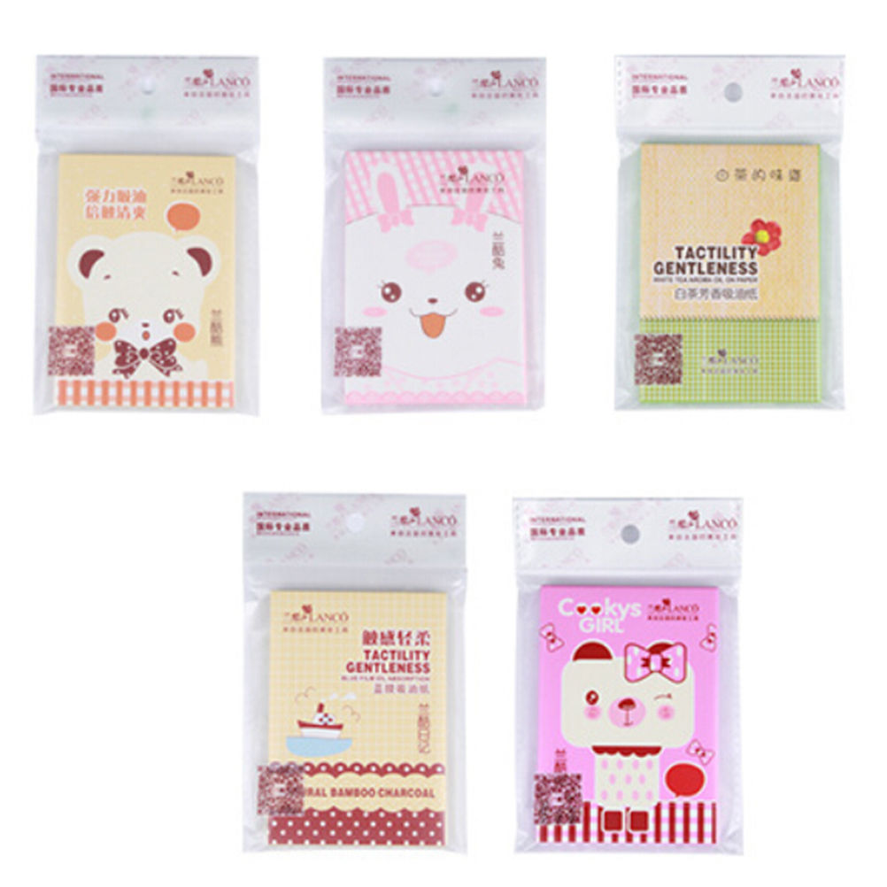 1 Pack Cute Facial Oil Control Absorption Film Tissue Paper Pulp Makeup Blotting Paper Random