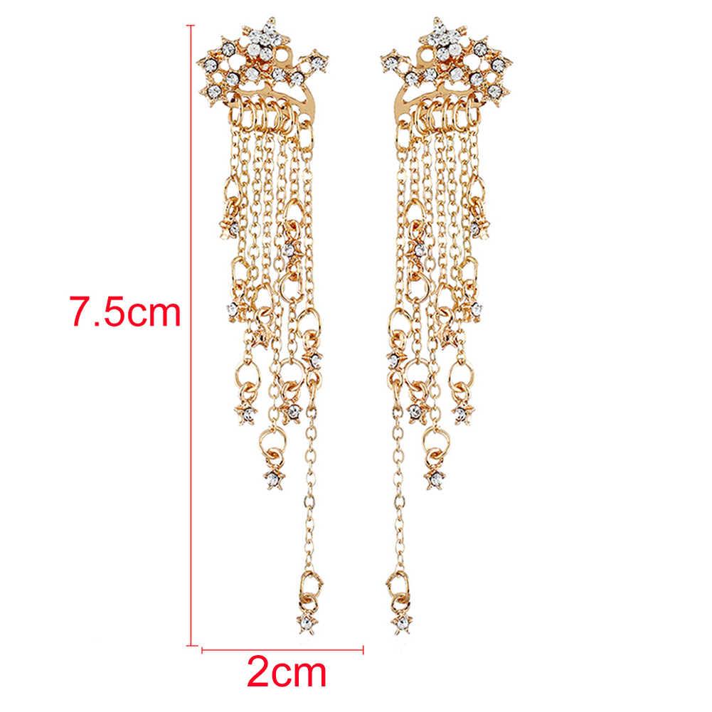 קוריאני תכשיטים אישיות טמפרמנט מתכת טאסל עגילי כלה עגיל עגילי עבור נשים ארוך מעיל עגילים