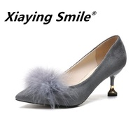 Xiaying Smile spring and autumn new Korean version of professional black hairy pointed heels online celebrity women shoes