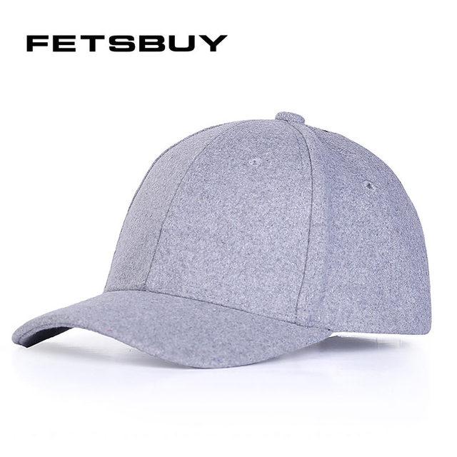 FETSBUY  Solid Men S Wool Fitted Baseball Cap Winter Cap Warm Bone  Snapback Light Board 133090e9a0d