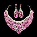 2017 Hot Teardrop  Rhinestone Crystal Choker Necklace  Earrings Bridal Jewelry Sets for women African Jewelry Set Pink 6 colors