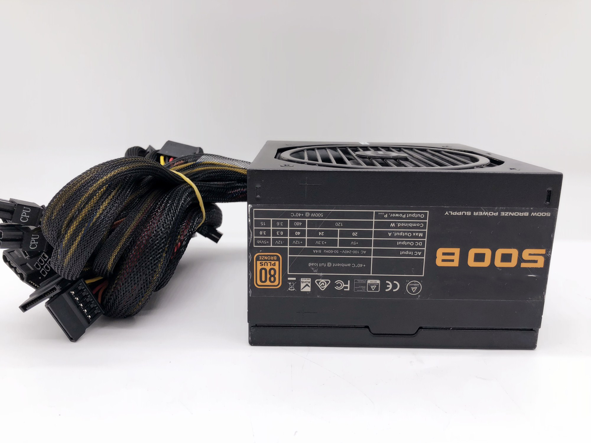 EVGA500B Rated 500w, 80PLUS Bronze Power Supply, Ultra-quiet Power Supply, Test Worked. Used Original