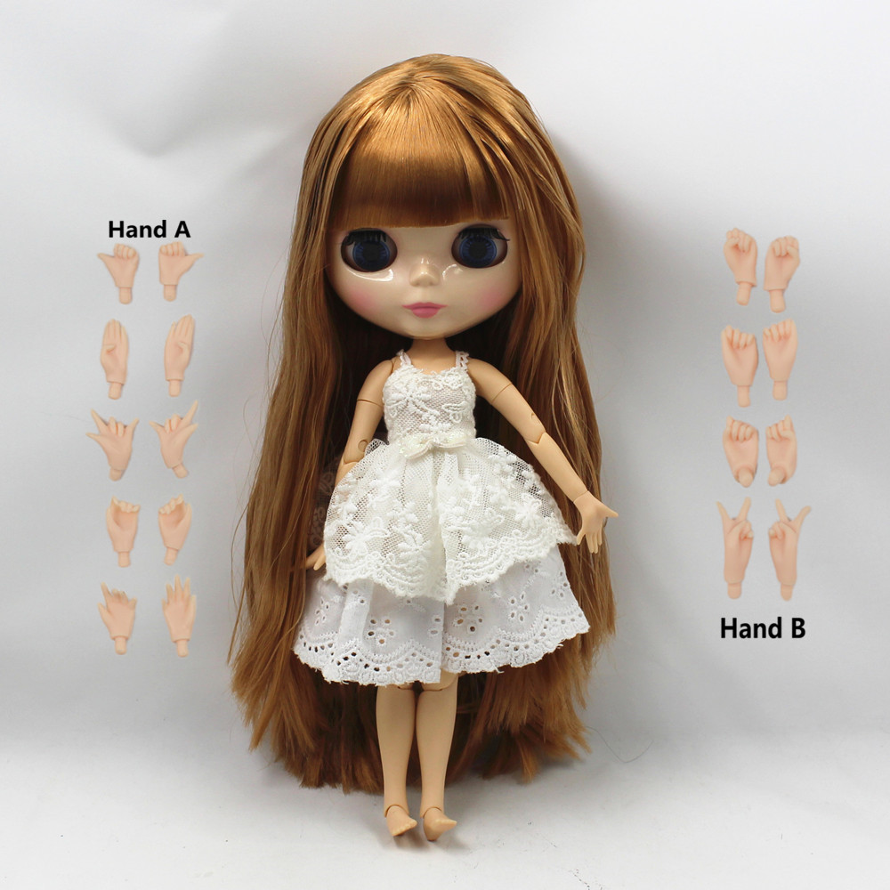 long brown straight hair with bangs/fringes bog breast joint body factory blyth nude doll bjd 1/6 30cm 260BL0535 toy gift цены