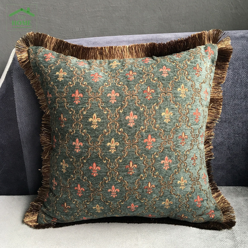 Small Green Decorative Pillow : Vintage Small Flower Blue Green Chenille Polyester Viscose Sofa Cushion Cover Decorative Pillow ...